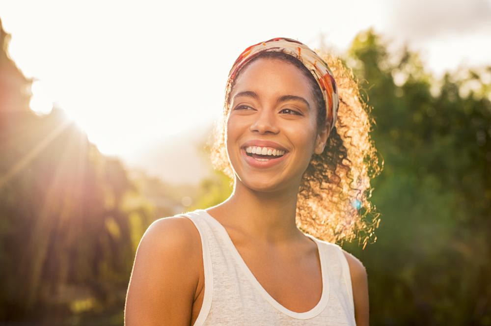 woman smiling feeling better