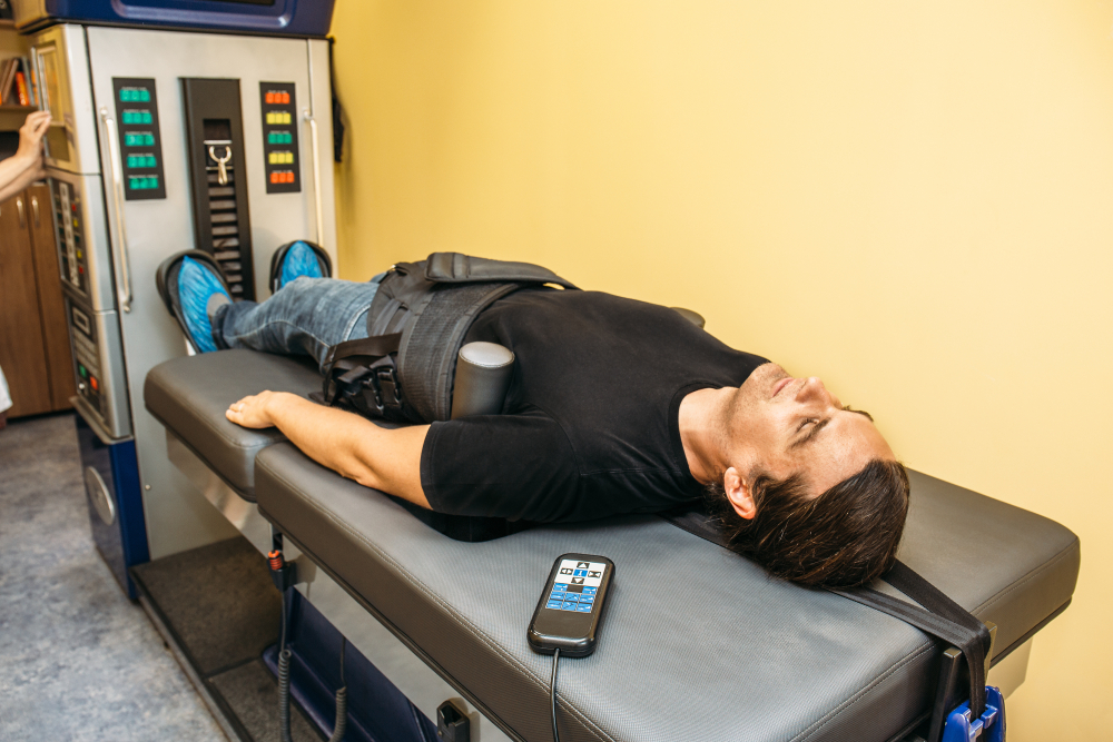 spinal decompression table and patient