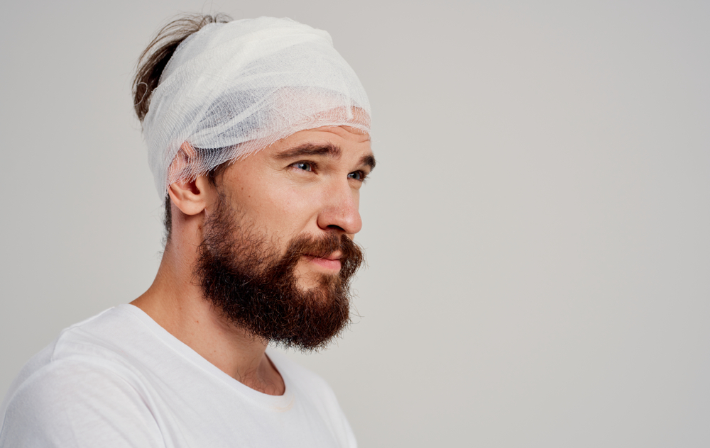 man with concussion