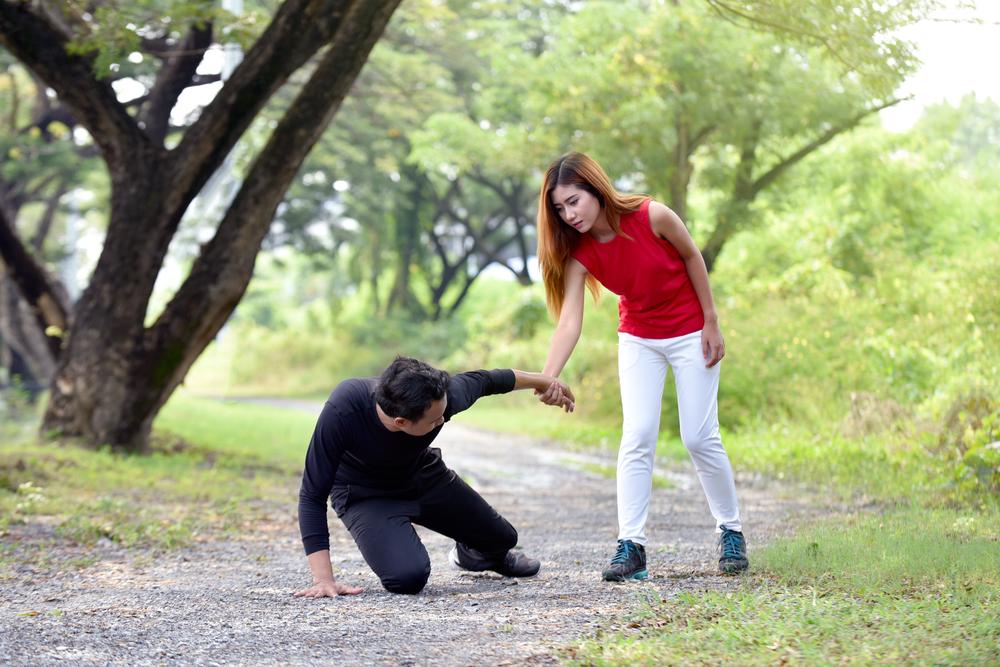 man falls due to balance disorder
