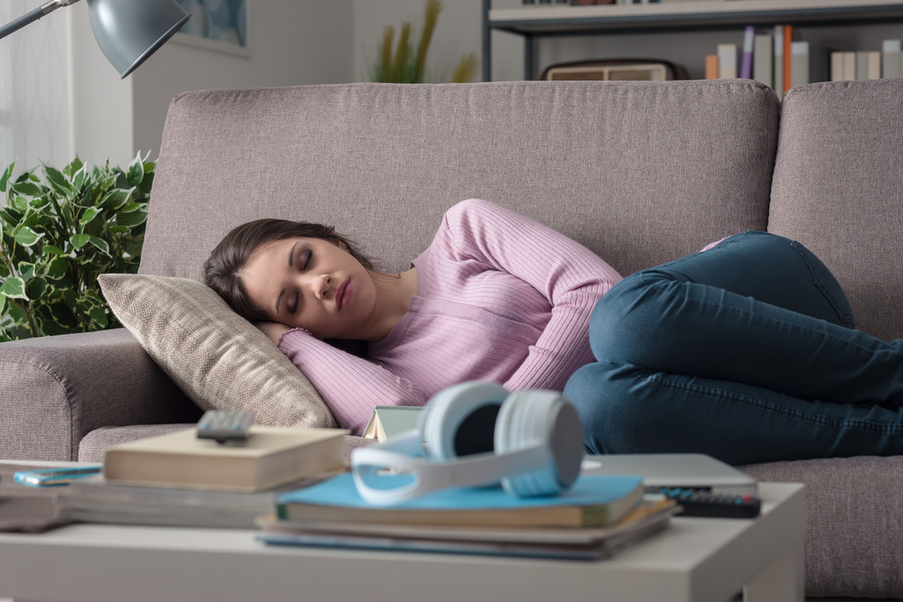 woman with concussion resting