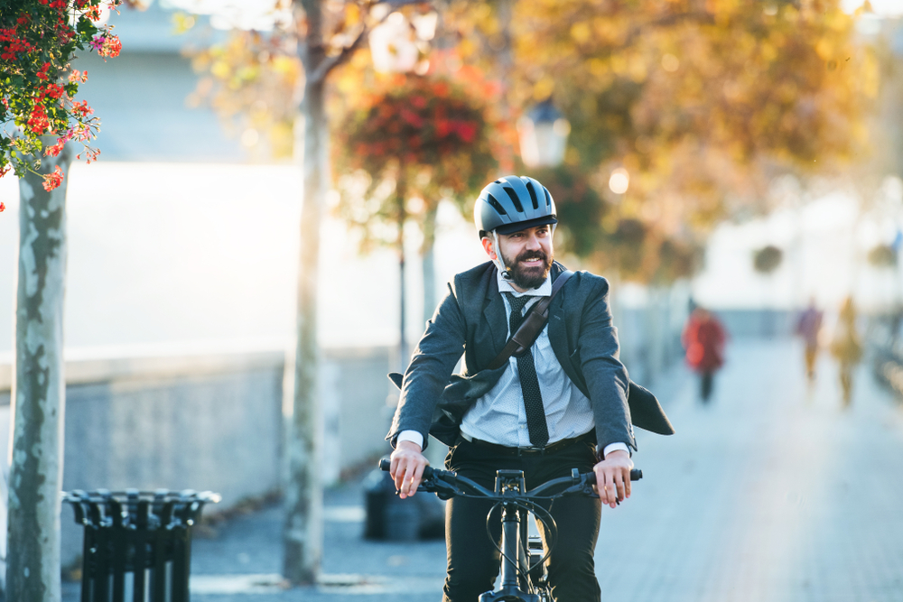 man on bike with vestibular disorder