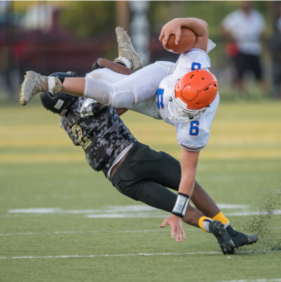 a football collision that will likely result in a sports concussion